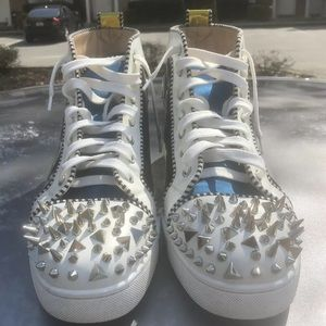 Christian Louboutin size 46 (13) blue gold spikes
